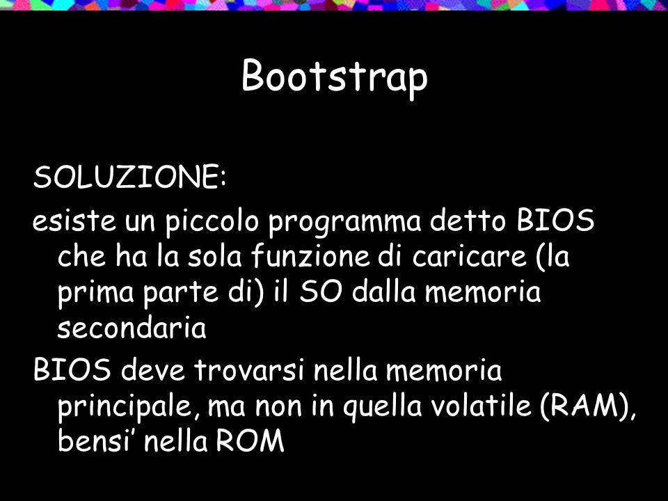 Bootstrap SOLUZIONE: esiste un piccolo programma detto BIOS che ha la sola funzione di caricare (la prima parte di) il SO dalla memoria secondaria BIOS deve trovarsi nella memoria principale, ma non in quella volatile (RAM), bensi nella ROM