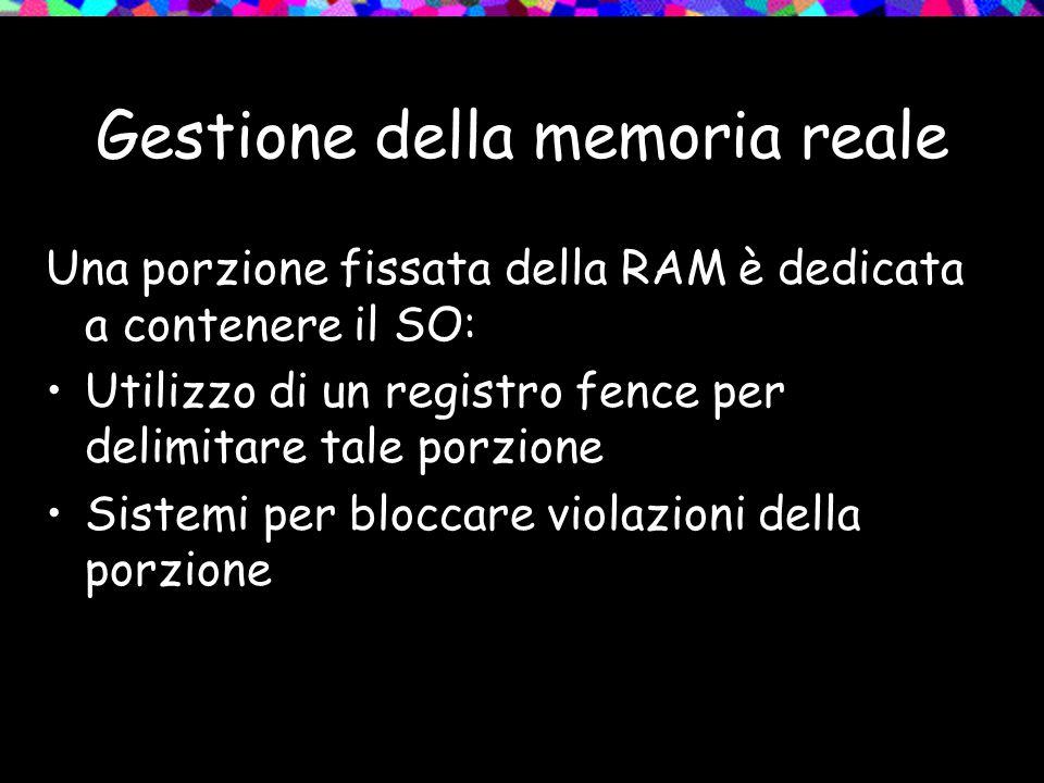 Gestione della memoria reale Una porzione fissata della RAM è dedicata a contenere il SO: Utilizzo di un registro fence per delimitare tale porzione Sistemi per bloccare violazioni della porzione