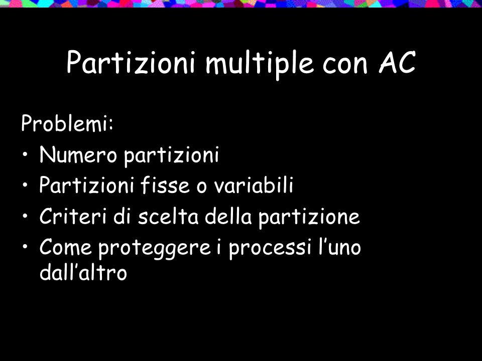 Partizioni multiple con AC Problemi: Numero partizioni Partizioni fisse o variabili Criteri di scelta della partizione Come proteggere i processi luno dallaltro