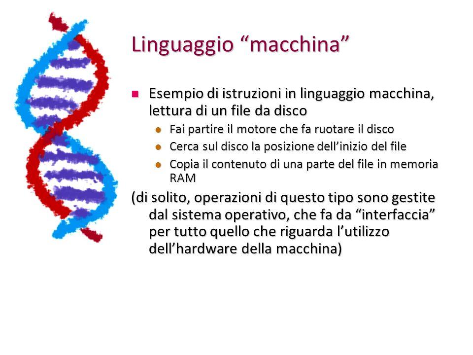 Linguaggio macchina Esempio di istruzioni in linguaggio macchina, lettura di un file da disco Esempio di istruzioni in linguaggio macchina, lettura di