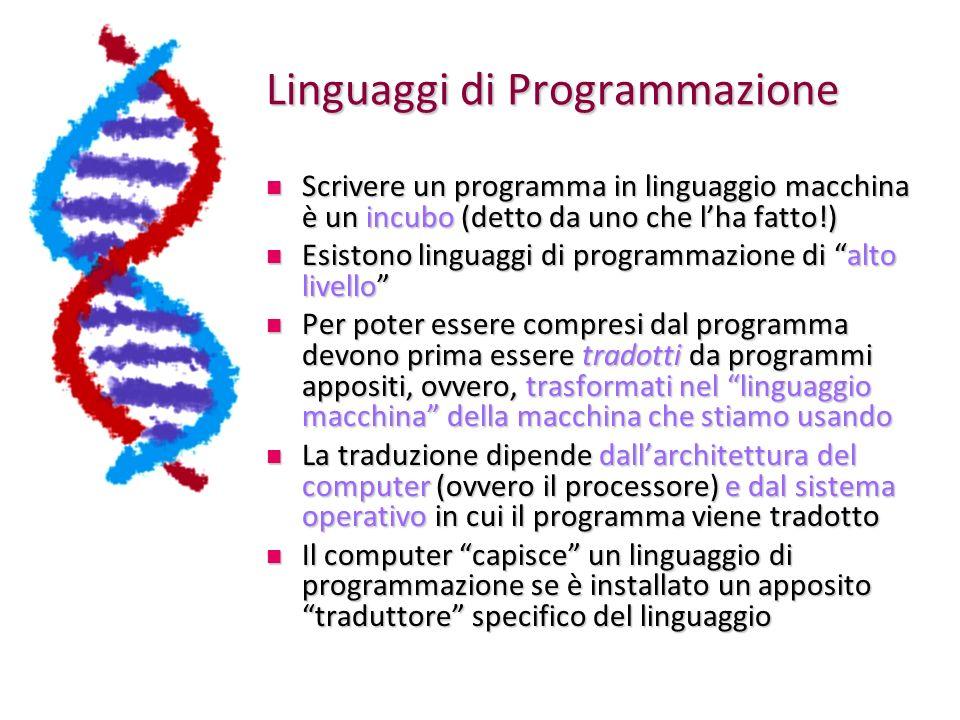 Linguaggi di Programmazione Scrivere un programma in linguaggio macchina è un incubo (detto da uno che lha fatto!) Scrivere un programma in linguaggio