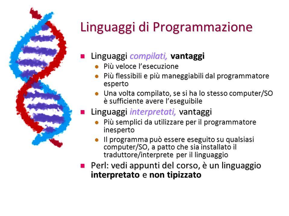 Linguaggi di Programmazione Linguaggi compilati, vantaggi Linguaggi compilati, vantaggi Più veloce lesecuzione Più veloce lesecuzione Più flessibili e