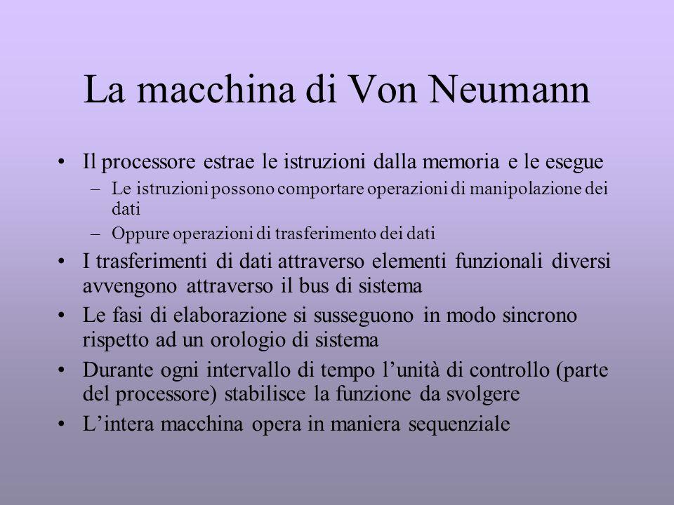 La macchina di Von Neumann Il processore estrae le istruzioni dalla memoria e le esegue –Le istruzioni possono comportare operazioni di manipolazione
