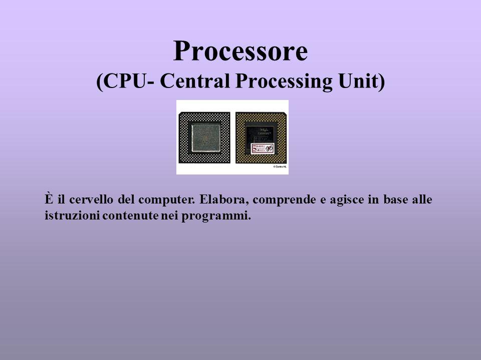 Processore (CPU- Central Processing Unit) È il cervello del computer. Elabora, comprende e agisce in base alle istruzioni contenute nei programmi.