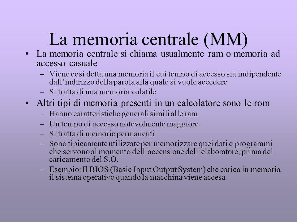 La memoria centrale (MM) La memoria centrale si chiama usualmente ram o memoria ad accesso casuale –Viene cosi detta una memoria il cui tempo di acces