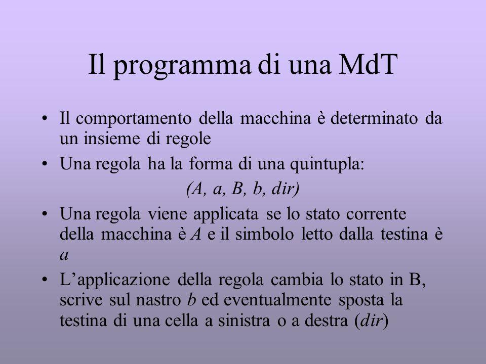Il programma di una MdT Il comportamento della macchina è determinato da un insieme di regole Una regola ha la forma di una quintupla: (A, a, B, b, di