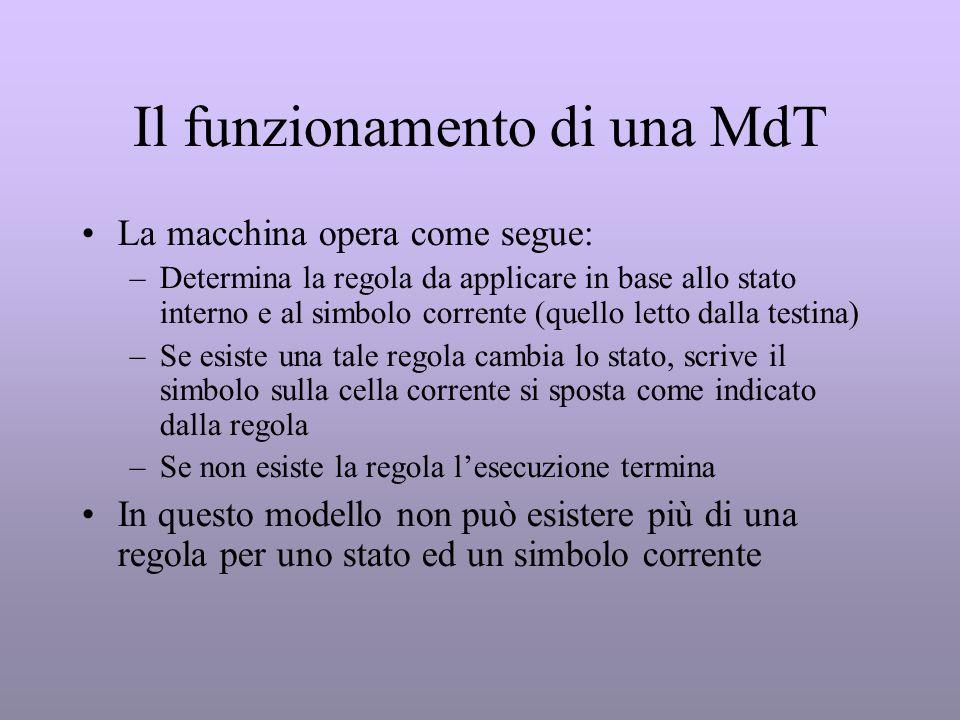 Il funzionamento di una MdT La macchina opera come segue: –Determina la regola da applicare in base allo stato interno e al simbolo corrente (quello l