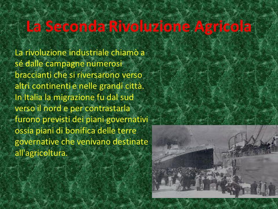 La Seconda Rivoluzione Agricola La rivoluzione industriale chiamò a sé dalle campagne numerosi braccianti che si riversarono verso altri continenti e nelle grandi città.