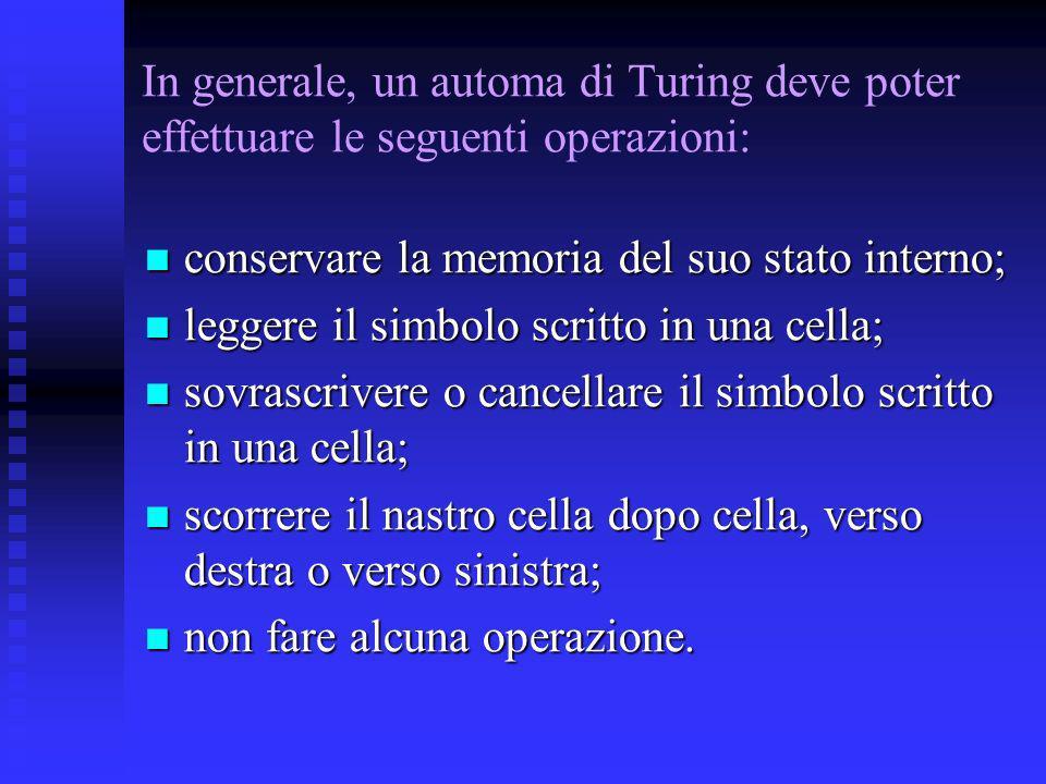 In generale, un automa di Turing deve poter effettuare le seguenti operazioni: conservare la memoria del suo stato interno; conservare la memoria del