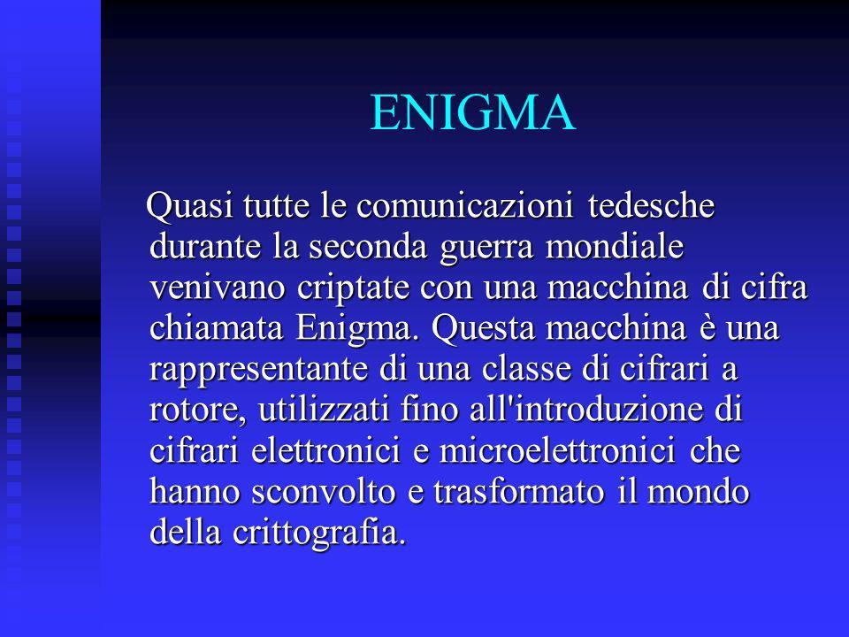 ENIGMA Quasi tutte le comunicazioni tedesche durante la seconda guerra mondiale venivano criptate con una macchina di cifra chiamata Enigma. Questa ma