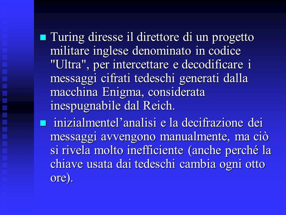 Turing diresse il direttore di un progetto militare inglese denominato in codice