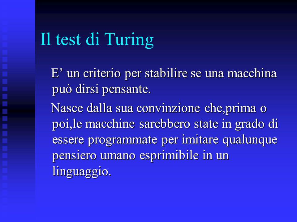 Il test di Turing E un criterio per stabilire se una macchina può dirsi pensante. E un criterio per stabilire se una macchina può dirsi pensante. Nasc
