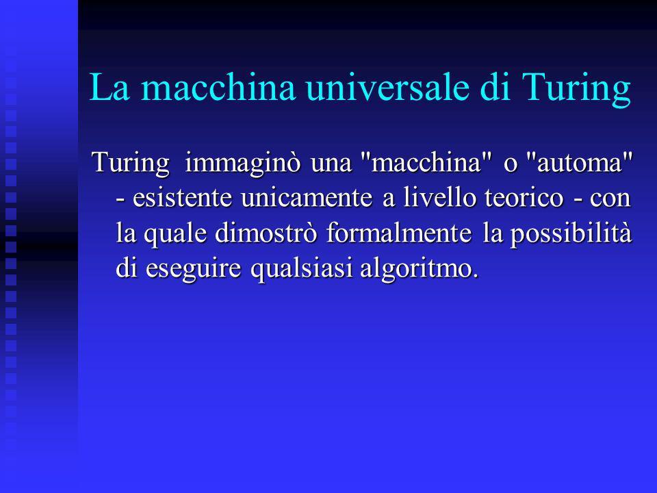 La macchina universale di Turing Turing immaginò una