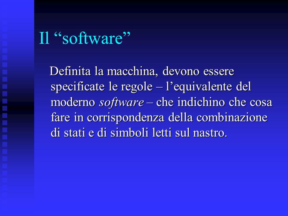 Il software Definita la macchina, devono essere specificate le regole – lequivalente del moderno software – che indichino che cosa fare in corrisponde