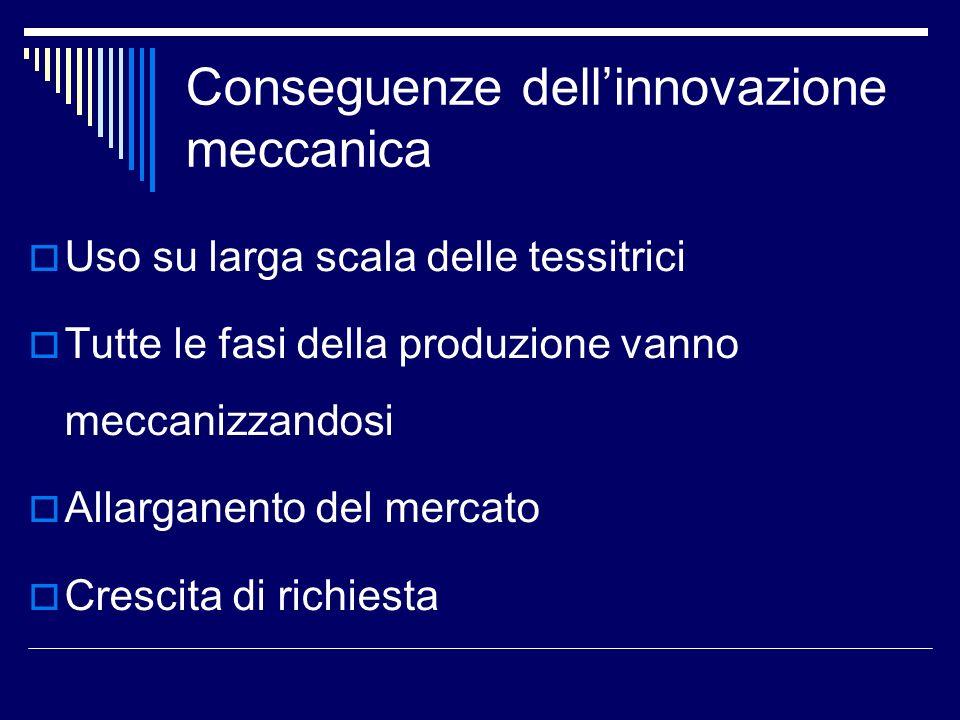 Conseguenze dellinnovazione meccanica Uso su larga scala delle tessitrici Tutte le fasi della produzione vanno meccanizzandosi Allarganento del mercat