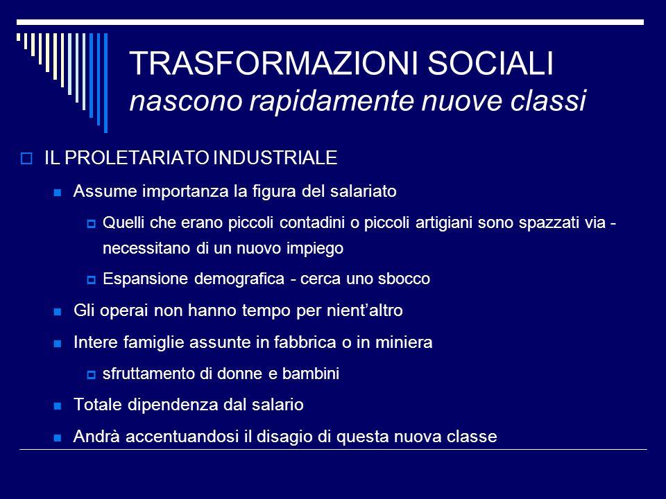 TRASFORMAZIONI SOCIALI nascono rapidamente nuove classi IL PROLETARIATO INDUSTRIALE Assume importanza la figura del salariato Quelli che erano piccoli
