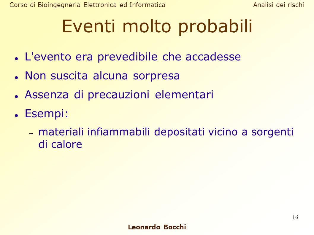 Leonardo Bocchi Corso di Bioingegneria Elettronica ed Informatica Analisi dei rischi 16 Eventi molto probabili L'evento era prevedibile che accadesse