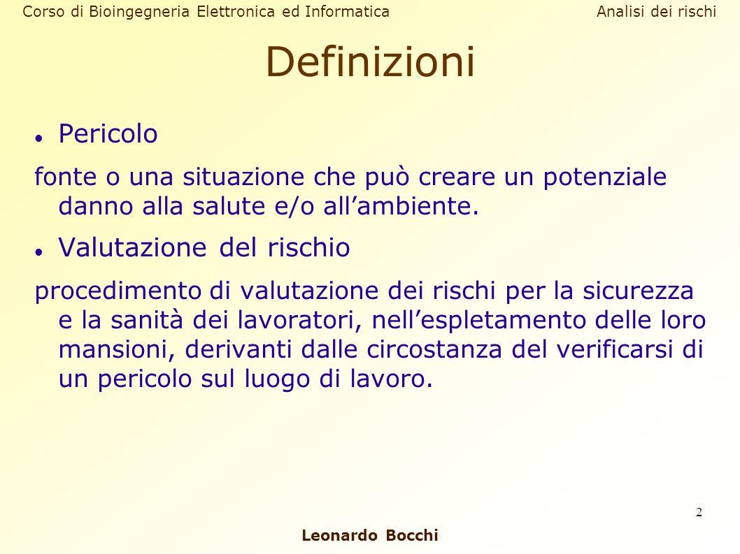 Leonardo Bocchi Corso di Bioingegneria Elettronica ed Informatica Analisi dei rischi 2 Definizioni Pericolo fonte o una situazione che può creare un p
