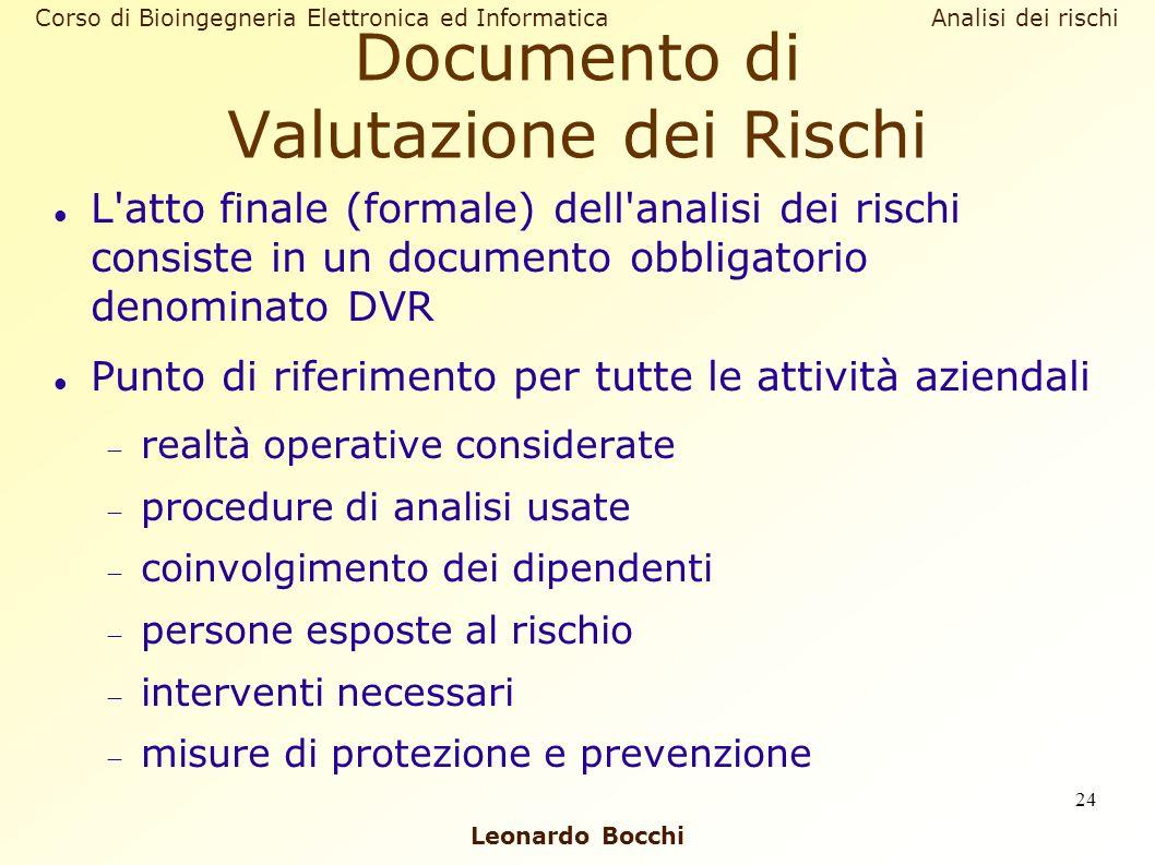 Leonardo Bocchi Corso di Bioingegneria Elettronica ed Informatica Analisi dei rischi 24 Documento di Valutazione dei Rischi L'atto finale (formale) de