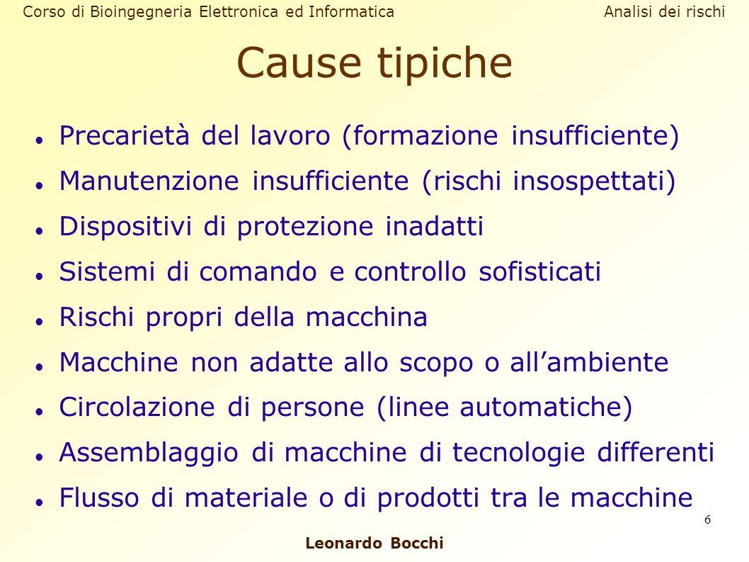 Leonardo Bocchi Corso di Bioingegneria Elettronica ed Informatica Analisi dei rischi 6 Cause tipiche Precarietà del lavoro (formazione insufficiente)