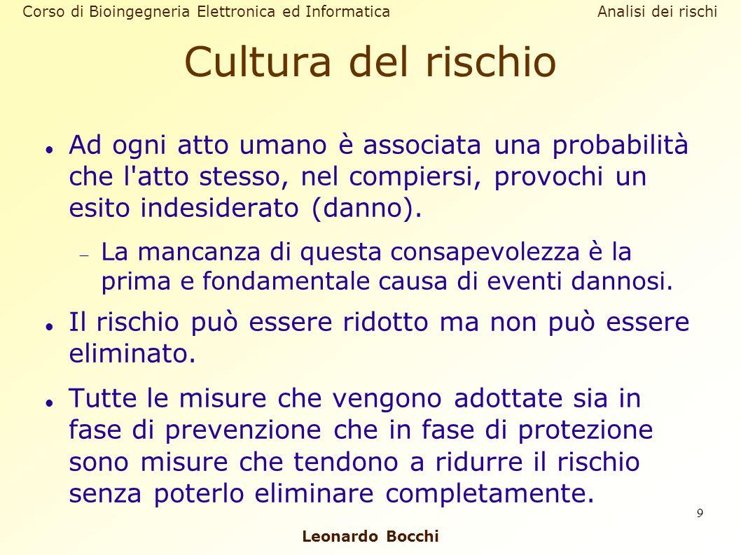 Leonardo Bocchi Corso di Bioingegneria Elettronica ed Informatica Analisi dei rischi 9 Cultura del rischio Ad ogni atto umano è associata una probabil