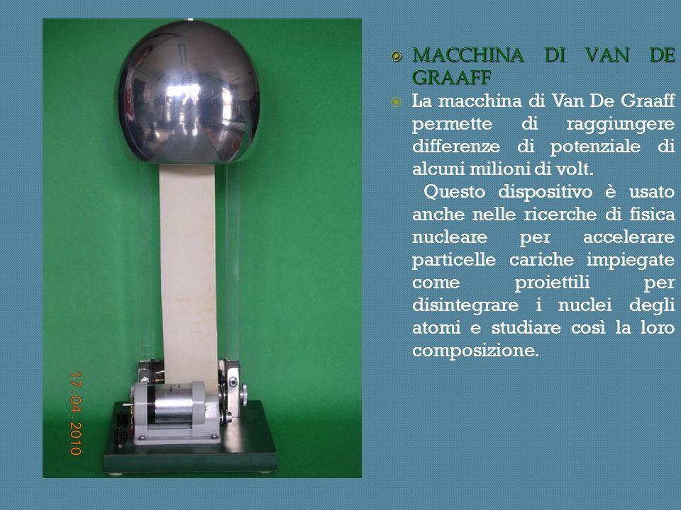 MACCHINA DI VAN DE GRAAFF MACCHINA DI VAN DE GRAAFF La macchina di Van De Graaff permette di raggiungere differenze di potenziale di alcuni milioni di volt.