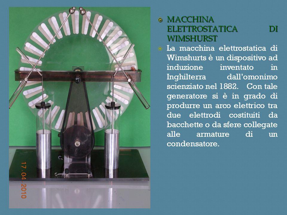 MACCHINA ELETTROSTATICA DI WIMSHURST MACCHINA ELETTROSTATICA DI WIMSHURST La macchina elettrostatica di Wimshurts è un dispositivo ad induzione inventato in Inghilterra dallomonimo scienziato nel 1882.