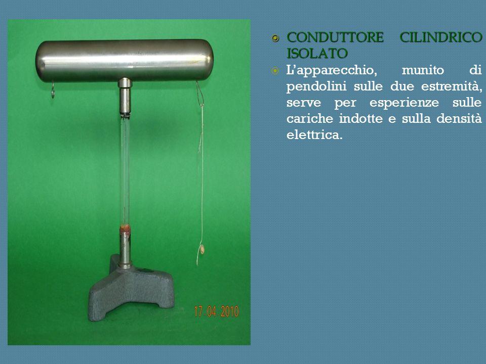 CONDUTTORE CILINDRICO ISOLATO CONDUTTORE CILINDRICO ISOLATO Lapparecchio, munito di pendolini sulle due estremità, serve per esperienze sulle cariche indotte e sulla densità elettrica.