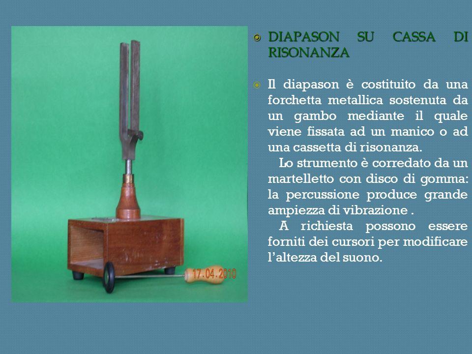 DIAPASON SU CASSA DI RISONANZA DIAPASON SU CASSA DI RISONANZA Il diapason è costituito da una forchetta metallica sostenuta da un gambo mediante il quale viene fissata ad un manico o ad una cassetta di risonanza.