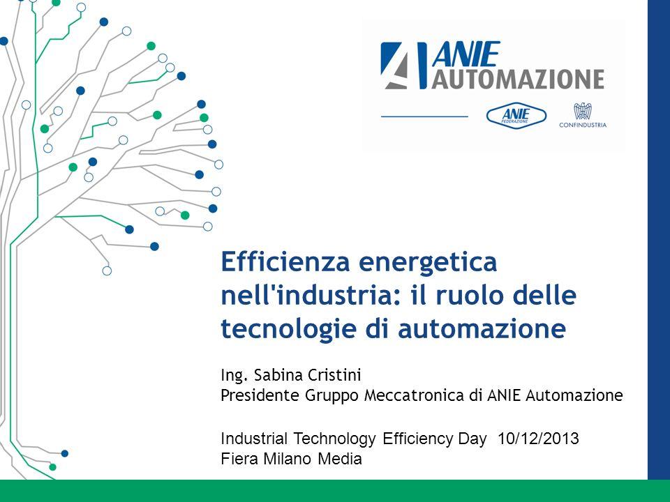 Efficienza energetica nell'industria: il ruolo delle tecnologie di automazione Ing. Sabina Cristini Presidente Gruppo Meccatronica di ANIE Automazione