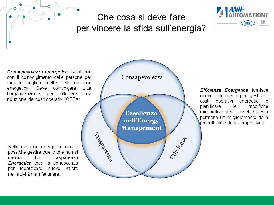 Che cosa si deve fare per vincere la sfida sullenergia? Consapevolezza Efficienza Trasparenza Eccellenza nellEnergy Management Consapevolezza energeti