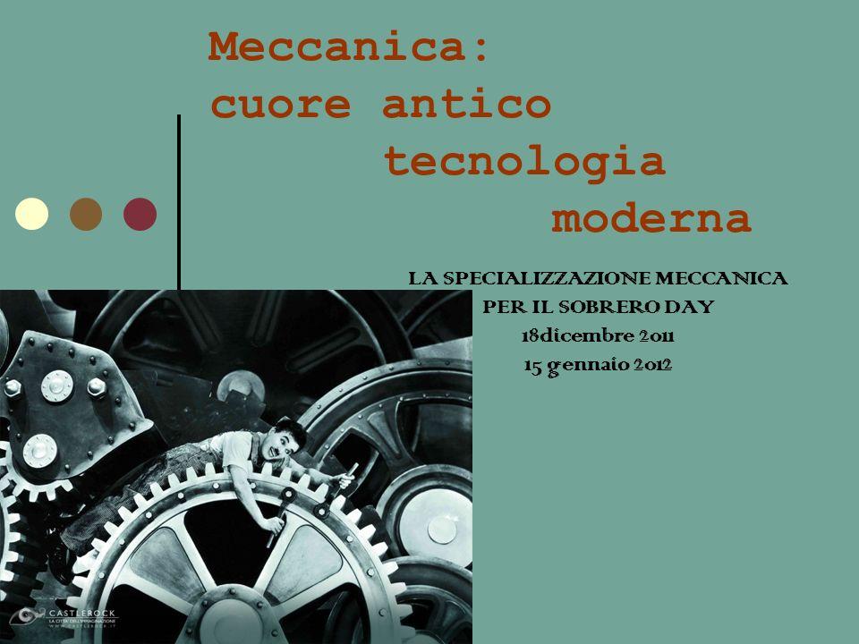 Meccanica: cuore antico tecnologia moderna LA SPECIALIZZAZIONE MECCANICA PER IL SOBRERO DAY 18dicembre 2011 15 gennaio 2012