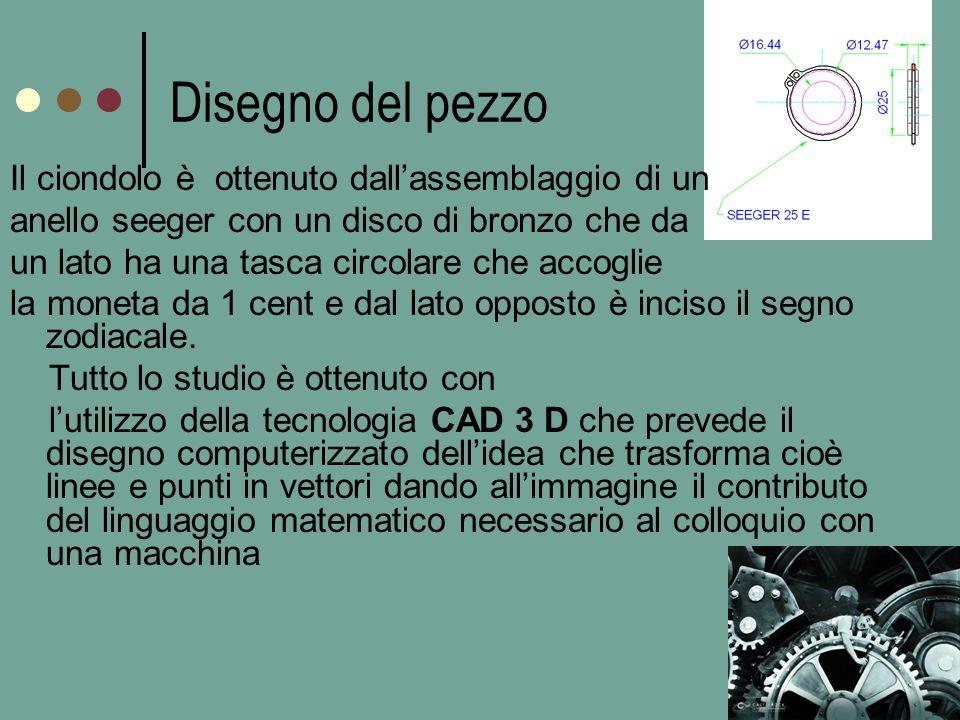 Disegno del pezzo Il ciondolo è ottenuto dallassemblaggio di un anello seeger con un disco di bronzo che da un lato ha una tasca circolare che accoglie la moneta da 1 cent e dal lato opposto è inciso il segno zodiacale.