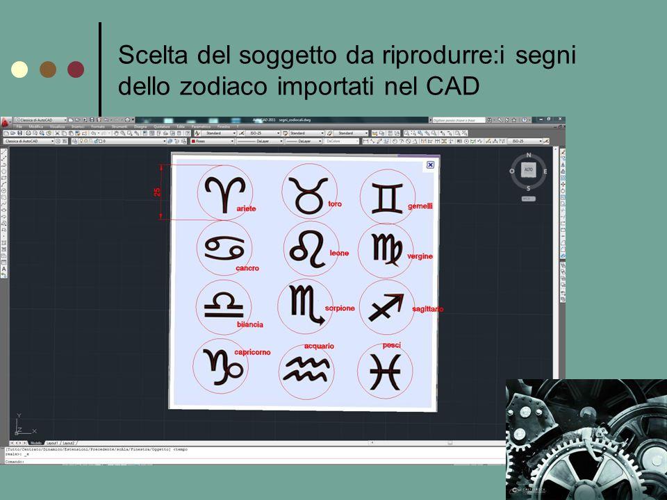 Scelta del soggetto da riprodurre:i segni dello zodiaco importati nel CAD