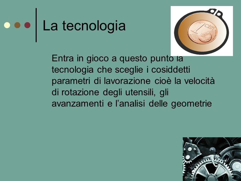 La tecnologia Entra in gioco a questo punto la tecnologia che sceglie i cosiddetti parametri di lavorazione cioè la velocità di rotazione degli utensili, gli avanzamenti e lanalisi delle geometrie