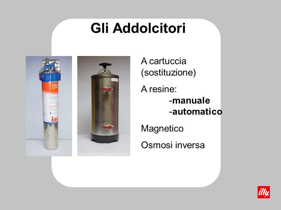 Gli Addolcitori Le resine contenute nelladdolcitore, trattengono ioni calcio e magnesio e rilasciano ioni sodio La durezza dellacqua è espressa in gra