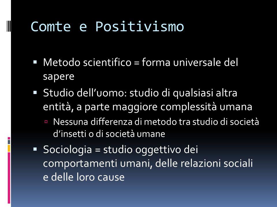 Comte e Positivismo Metodo scientifico = forma universale del sapere Studio delluomo: studio di qualsiasi altra entità, a parte maggiore complessità u