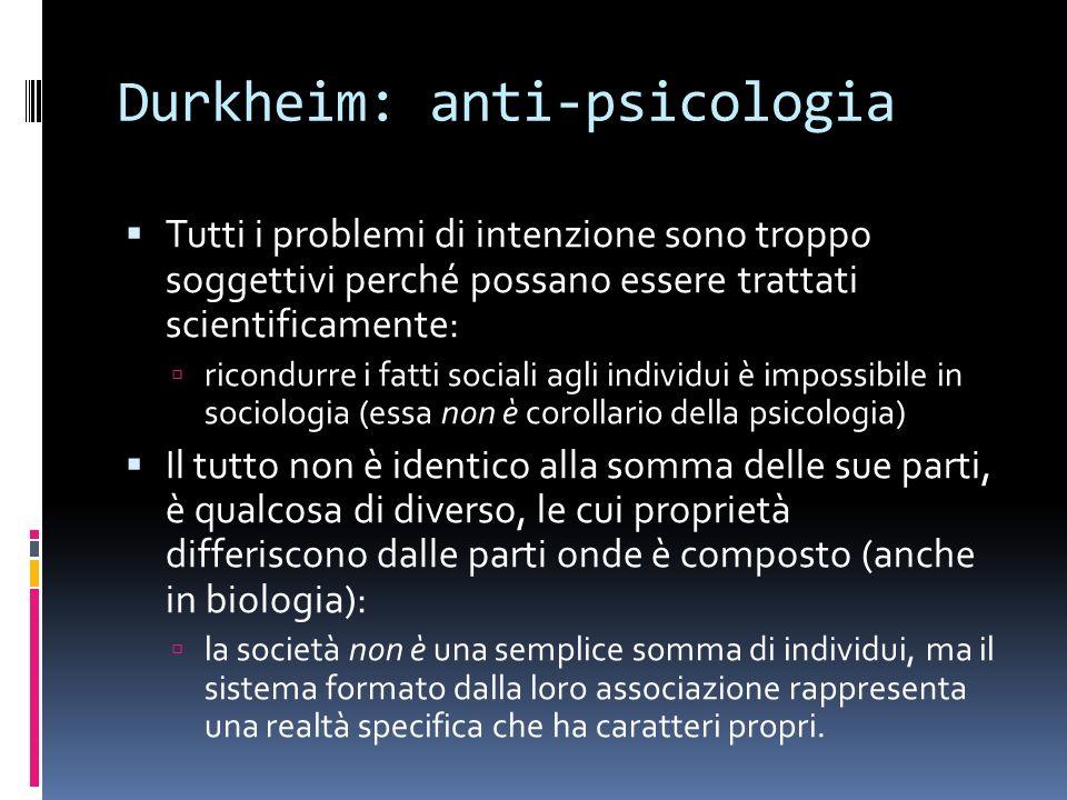 Durkheim: anti-psicologia Tutti i problemi di intenzione sono troppo soggettivi perché possano essere trattati scientificamente: ricondurre i fatti so