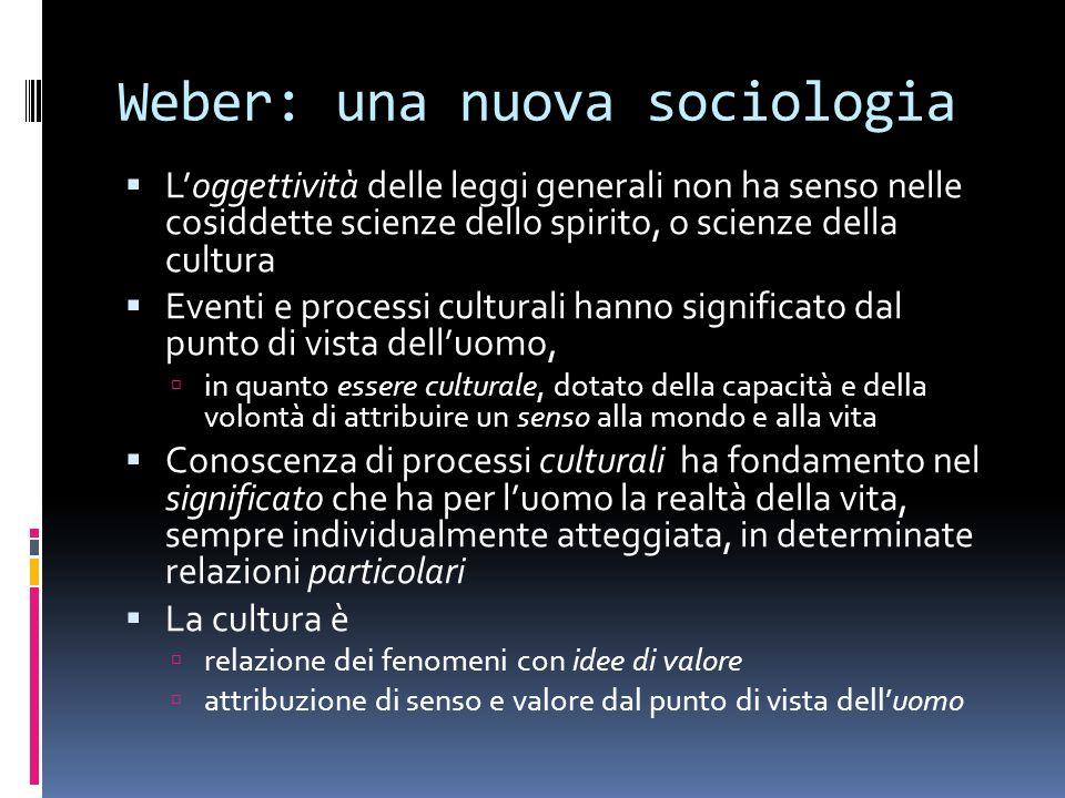 Weber: una nuova sociologia Loggettività delle leggi generali non ha senso nelle cosiddette scienze dello spirito, o scienze della cultura Eventi e pr