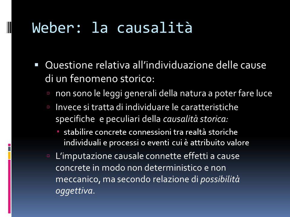 Weber: la causalità Questione relativa allindividuazione delle cause di un fenomeno storico: non sono le leggi generali della natura a poter fare luce
