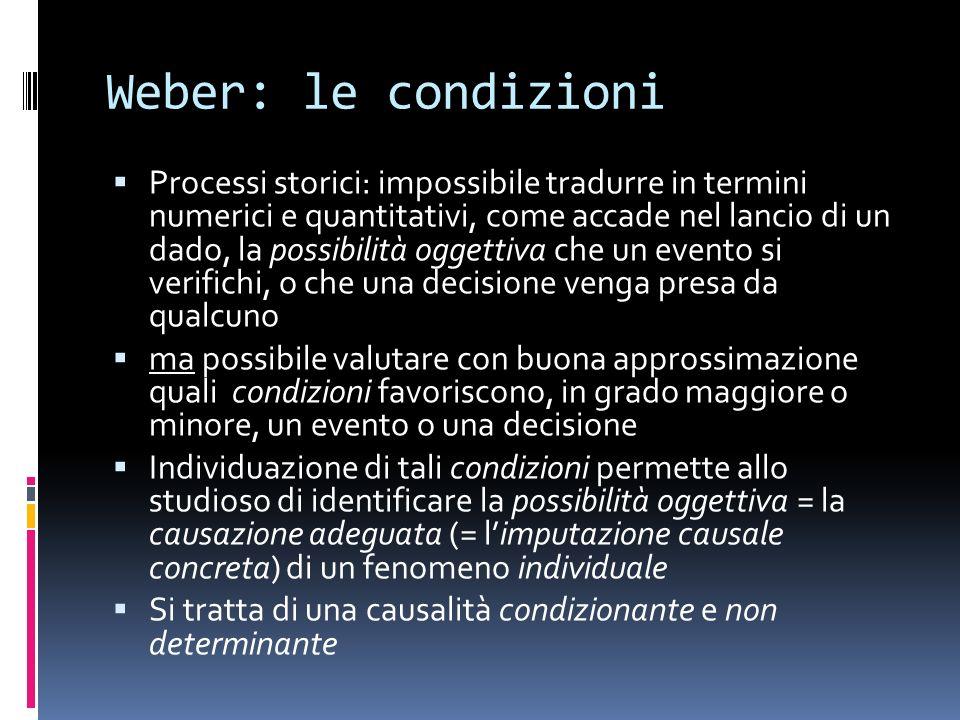 Weber: le condizioni Processi storici: impossibile tradurre in termini numerici e quantitativi, come accade nel lancio di un dado, la possibilità ogge