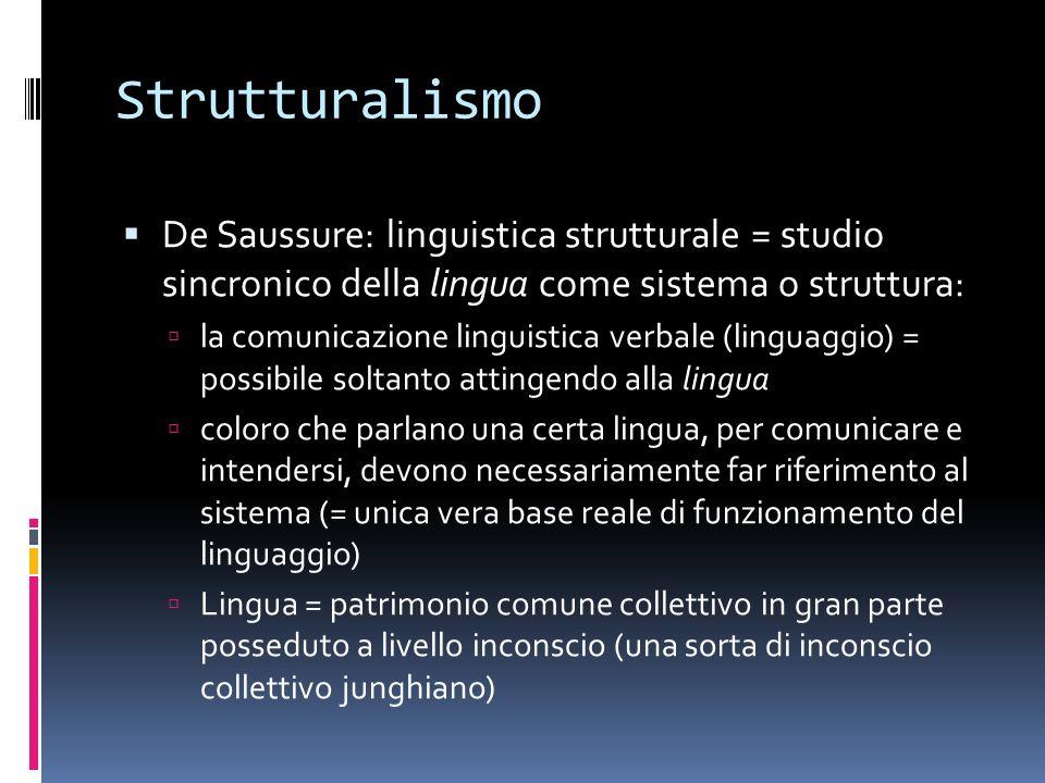 Strutturalismo De Saussure: linguistica strutturale = studio sincronico della lingua come sistema o struttura: la comunicazione linguistica verbale (l