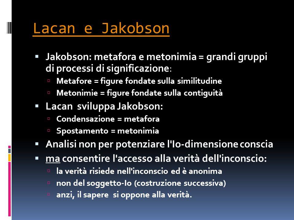 Lacan e Jakobson Jakobson: metafora e metonimia = grandi gruppi di processi di significazione: Metafore = figure fondate sulla similitudine Metonimie