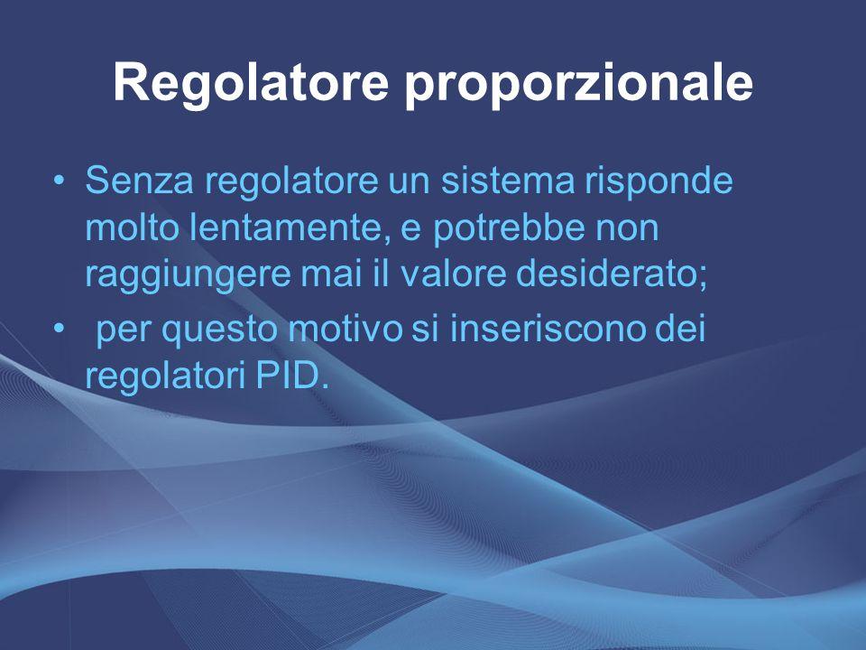 Regolatore proporzionale Senza regolatore un sistema risponde molto lentamente, e potrebbe non raggiungere mai il valore desiderato; per questo motivo
