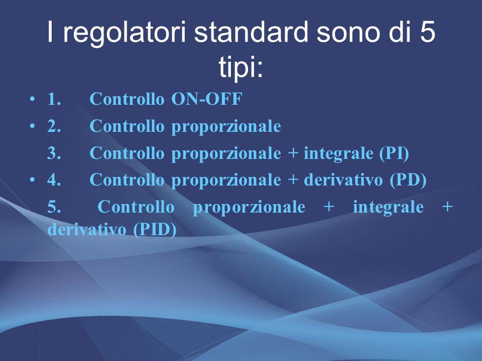 I regolatori standard sono di 5 tipi: 1. Controllo ON-OFF 2. Controllo proporzionale 3. Controllo proporzionale + integrale (PI) 4. Controllo proporzi