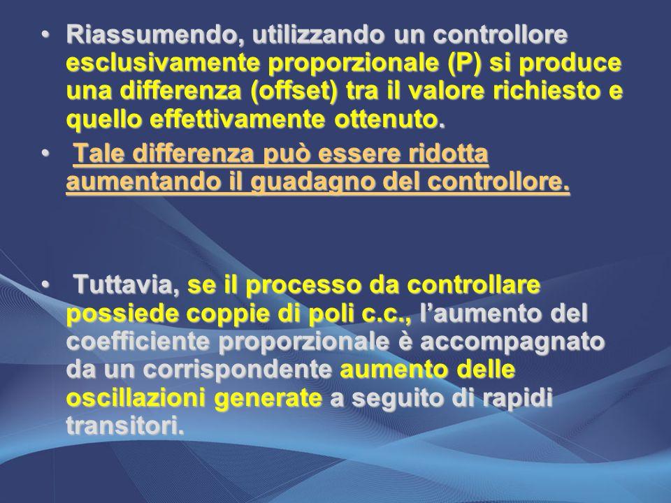 Riassumendo, utilizzando un controllore esclusivamente proporzionale (P) si produce una differenza (offset) tra il valore richiesto e quello effettiva