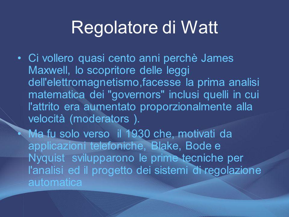 Regolatore di Watt Ci vollero quasi cento anni perchè James Maxwell, lo scopritore delle leggi dell'elettromagnetismo,facesse la prima analisi matemat