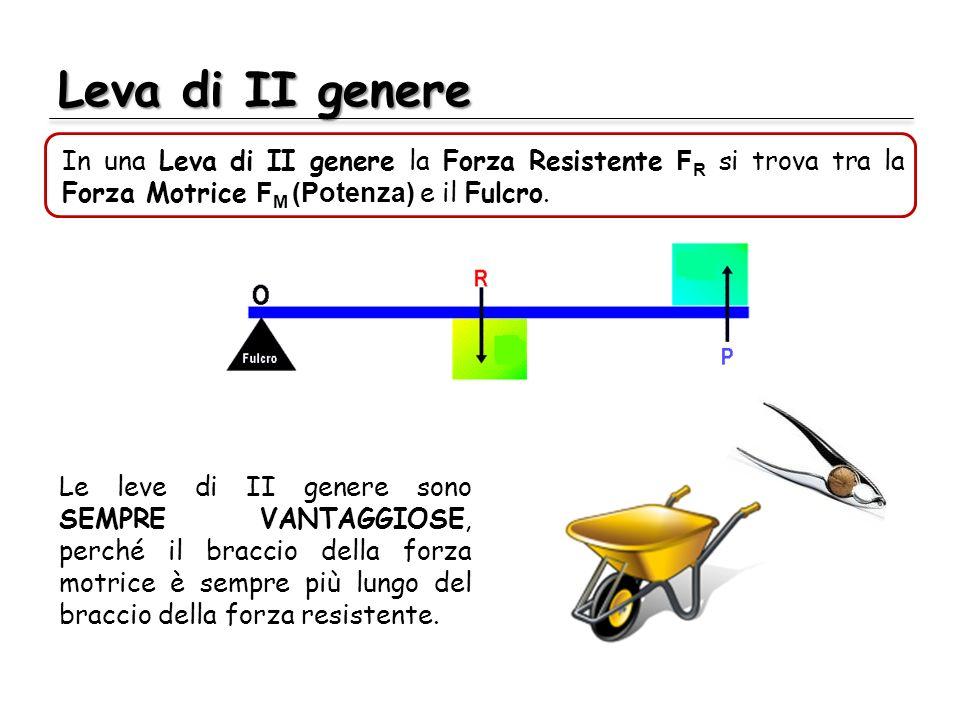 Leva di II genere In una Leva di II genere la Forza Resistente F R si trova tra la Forza Motrice F M (Potenza) e il Fulcro. Le leve di II genere sono