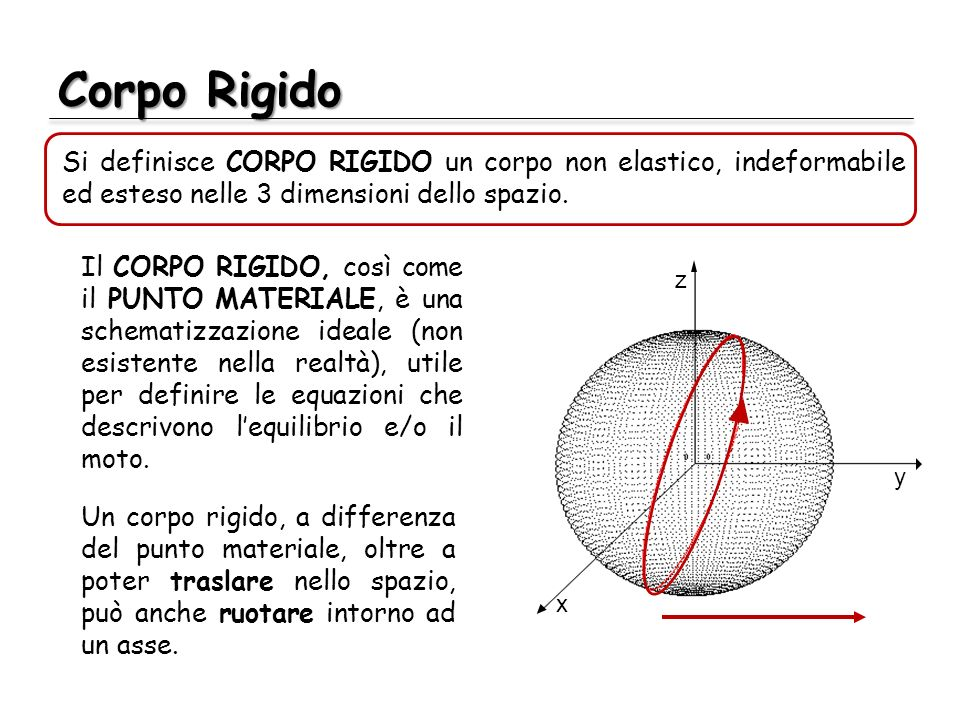 Corpo Rigido Il CORPO RIGIDO, così come il PUNTO MATERIALE, è una schematizzazione ideale (non esistente nella realtà), utile per definire le equazion