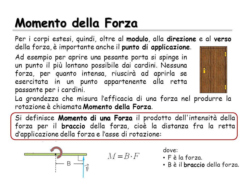 R R B Momento della Forza Per i corpi estesi, quindi, oltre al modulo, alla direzione e al verso della forza, è importante anche il punto di applicazi